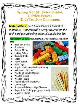 SPRING STEM Lesson (K-2)- Peter Rabbit, Garden Fences