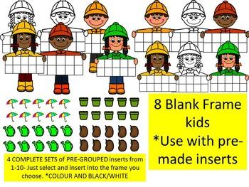 SPRING TEN FRAME KIDS CLIP ART BUNDLE