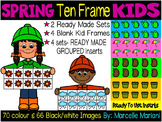 SPRING TEN FRAME KIDS CLIPART