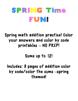 March Math Spring Addition COLOR BY CODE