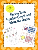SPRING Teen Number Count and Write the Room Math Center