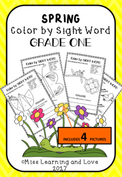 SPRING Themed: Color by DOLCH Sight Word (GRADE 1) Literacy Center Activity
