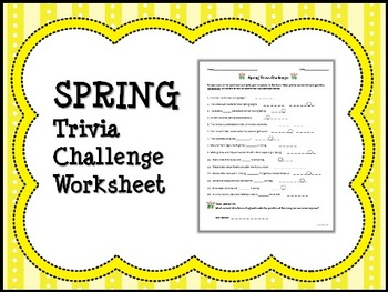 graphic relating to Spring Trivia Questions and Answers Printable called SPRING Trivia Problem Worksheet