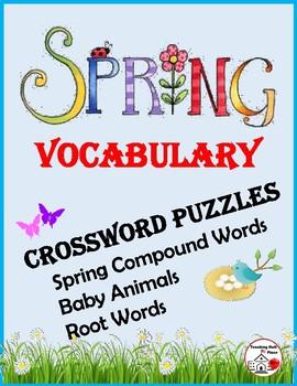 SPRING VOCABULARY Crossword Puzzles - Grades 3-4-5