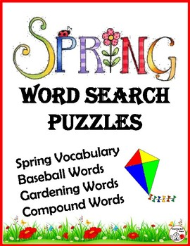 SPRING VOCABULARY WORD SEARCH Puzzles - Grades 3-4-5