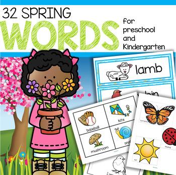 SPRING Vocabulary Words Center & Group Activities for Preschool & Kindergarten