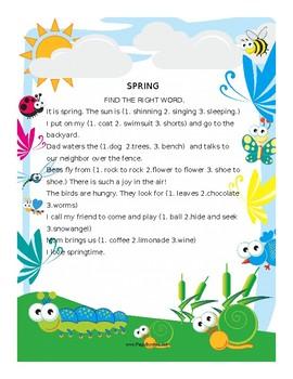 SPRING WORKSHEET for Second Graders