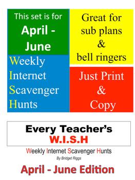 SPRING Weekly Internet Scavenger Hunts:  April - June