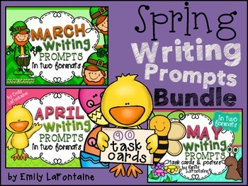 SPRING Writing Prompts Bundle (90 count) - task cards, posters, and lined paper