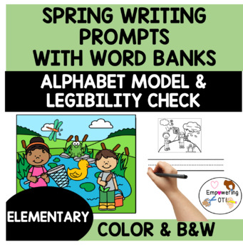 SPRING Writing prompts with pictures, word bank, alphabet model k123 b&w color