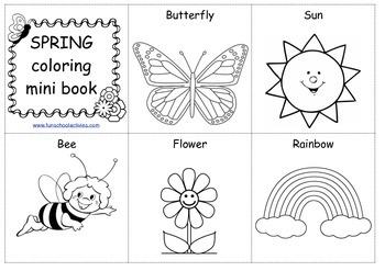 SPRING coloring mini book