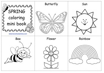 SPRING coloring mini book