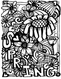 SPRING coloring page. Flowers.