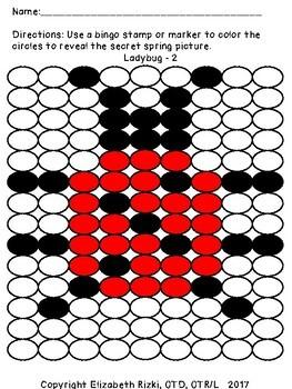 SPRING do a dot / color by letter reversal b d p q k 1 2 3 4 5 SPED OT