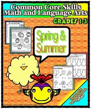 Spring & Summer Printable Skills Activity Packet: Math & Literacy (Grades 1-3)