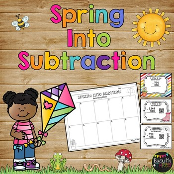 Subtraction with Regouping Game, Spring Math Scoot {Self Check with QR Codes}