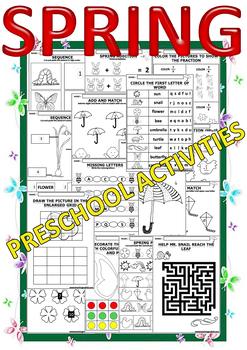 SPRING preschool activities and fun worksheets