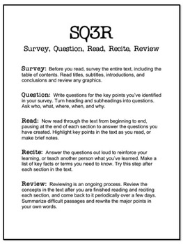 sq3r template sq3r handout and worksheet by laura torres teachers pay