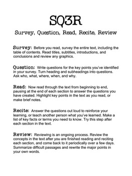 SQ3R Handout and Worksheet by Laura Torres | Teachers Pay Teachers