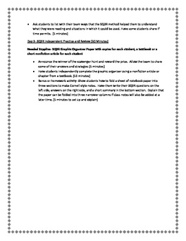 SQ3R Reading Comprehension and Study Skills Unit Lesson Plans