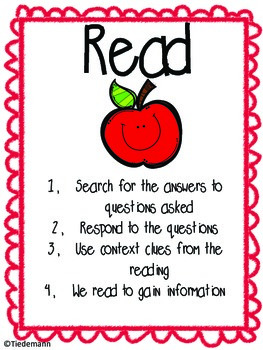 SQ3R Reading Strategy Anchor Charts