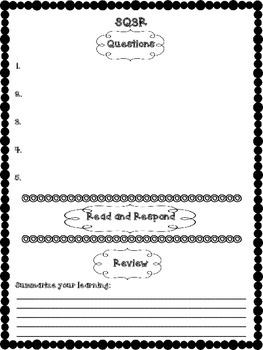 SQ3R organizer for use with any nonfiction text