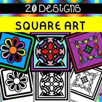 SQUARE ART COLOURING IN PAGES