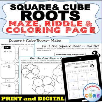 SQUARE CUBE ROOTS Maze Riddle Color by Number Fun