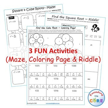 SQUARE & CUBE ROOTS Maze, Riddle, Color by Number (Fun MATH Activities)