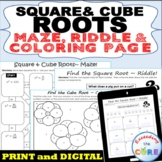 SQUARE & CUBE ROOTS Maze, Riddle, Color by Number Coloring Page Math Activity