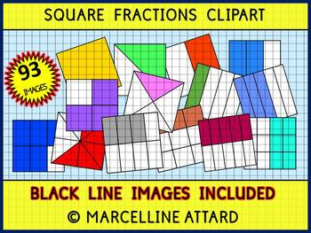 SQUARE FRACTIONS CLIPART: MATH CLIPART: GEOMETRY CLIPART