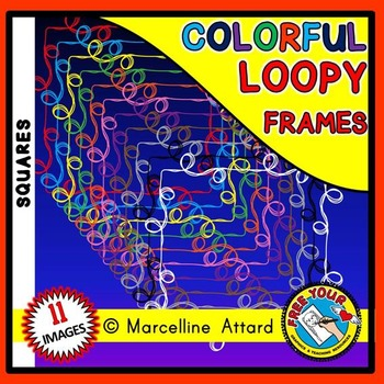 SQUARE LOOPY CLIPART FRAMES: SQUARE FRAMES CLIPART: LOOPY BORDERS: LOOPY FRAMES