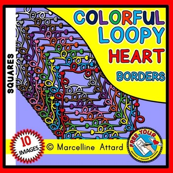 LOOPY HEARTS CLIPART FRAMES AND BORDERS SQUARE SHAPE
