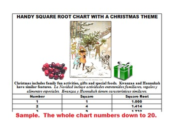 SQUARE ROOTS WORKSHEETS (CHRISTMAS THEME)