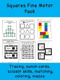 SQUARES FINE MOTOR PACK!...scissor skills, punch cards, drawing, mazes, + MORE