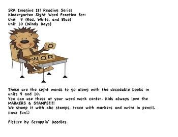 SRA Imagine It! Kindergarten Unit 9 & 10 Sight Words