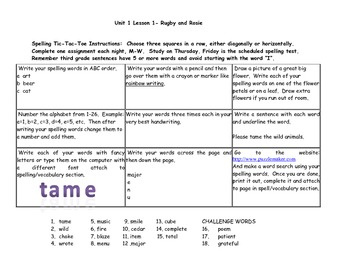 SRA Imagine It Unit 1 Lesson 1 Tic-Tac-Toe Spelling