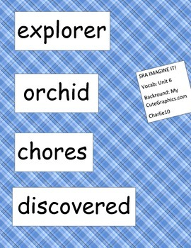 SRA ImagineIt! 2nd Grade Vocabulary Words Unit 6
