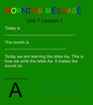 SRA Kindergarten Flip Charts UNIT 1 LESSON 1 THRU 5