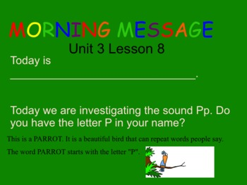 SRA Kindergarten Flip Charts UNIT 3 LESSON 6 THRU 10