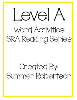 SRA Reading Series Word Activities Level A
