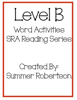 SRA Reading Series Word Activities Level B