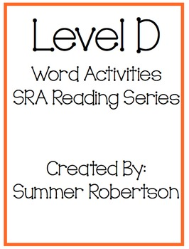 SRA Reading Series Word Activities Level D