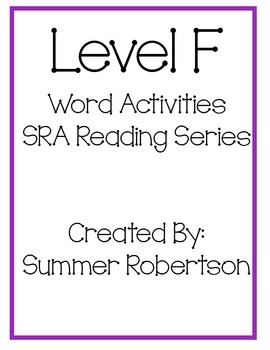 SRA Reading Series Word Activities Level F