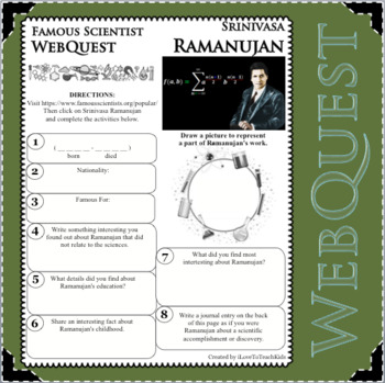 SRINIVASA RAMANUJAN - WebQuest in Science - Famous Scientist - Differentiated