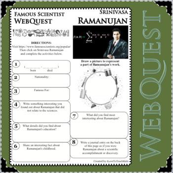 SRINIVASA RAMANUJAN Science WebQuest Scientist Research Project Biography Notes