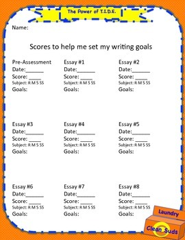 SRSD:  Goal Setting Record Form for TIDE(power) informational writing