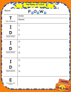 SRSD: Power of T.I.D.E. Graphic Organizers 2nd-8th grade