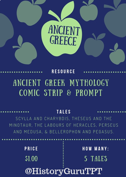 SS.6.C.1.1 & 1.2 5 terrifying tales from Greek mythology Comic Strip & Prompt