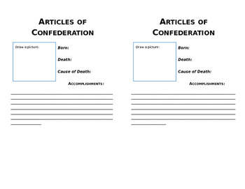 SS.7.C.1.5 Obiturary for Articles of Confederation